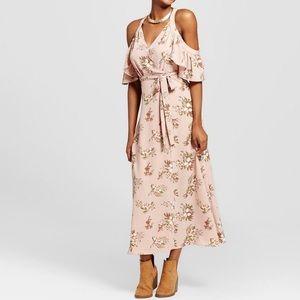 Printed Cold Shoulder Maxi Dress Blush Pink Floral